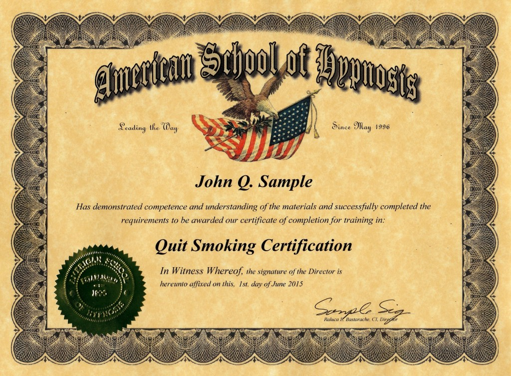 quit smoking certification