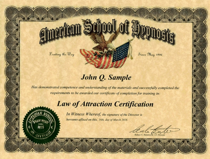 law of attraction certificate